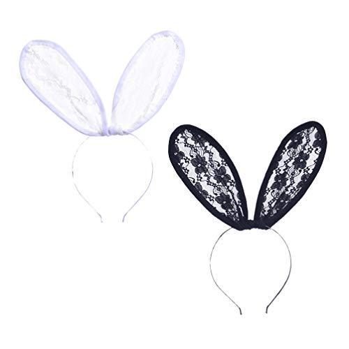 Minkissy 2pcs dentelle bandeaux lapin sexy lapin oreille bandes de cheveux costume de fête de Pâques cerceaux de cheveux pour adultes enfants