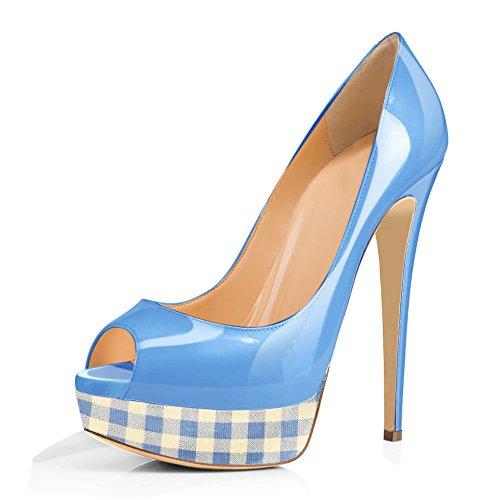 Onlymaker Women's Peep Toe Pumps Stiletto Court Shoes Slip On Platform High Heels Blue EU 42