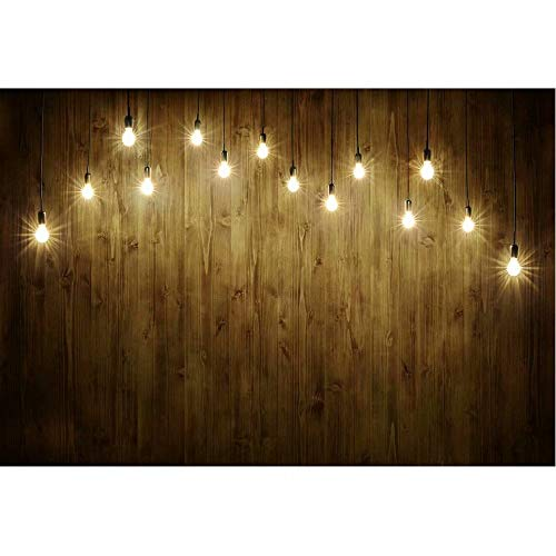 Christmas M-Shaped String Lights and Brown Wood Plank Photography Background Glitter Bokeh Background Christmas Birthday Party Photo Banner Props