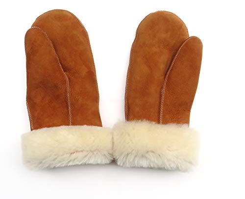 Lammfell Handschuhe Fausthandschuh Fäustlinge Damen, hell braun Cognac mit beigen Fell, Größen siehe Produktbeschreibung, (M, Cognac)