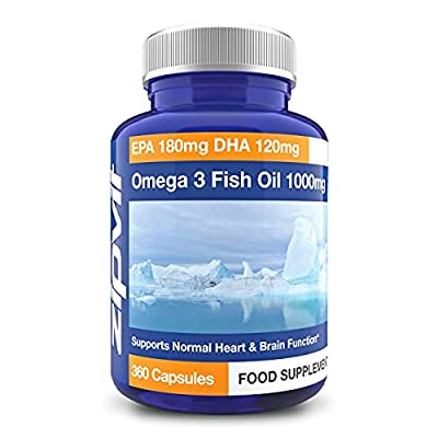 Omega 3 Fish Oil 1000mg   360 Softgels   EPA 180mg DHA 120mg   Supports Heart, Brain & Eye Health   FULL YEARS SUPPLY by Zipvit