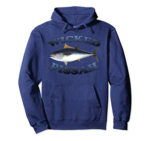 Wicked Pissah Bluefin Tuna Fish Illustration Fishing Angler Pullover Hoodie