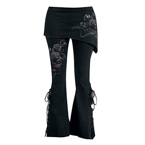 Pantalones Tallas Grandes Pantalones para Mujer Jeggings Góticos Pantalones Mini Faldas Pantalones Cintura Alta Leggings Negros Vendaje Faldas Asimétricas Pantalones Acampanados M - 5XL Mxssi