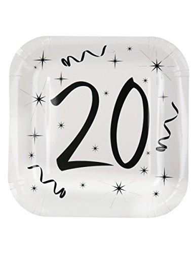 10 Assiettes en carton âge 20 ans 23 cm