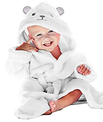 Premium Bamboo Baby Robe - Newborn Essentials Must Haves - 2 Layer Softest Baby Bath Hooded Robe (Neutral Design) - Baby Registry Search Essentials for Boys and Girls White