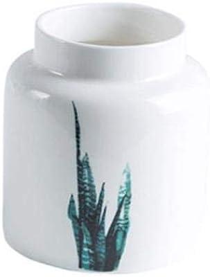 Florero de 1/x Jarr/ón Madera aspecto de madera de porcelana Natural borde blanco 18,5/cm de altura Flores F Mesa decorativa