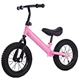12 Pulgada Scooter de Equilibrio para NiñOs,Patinaje de Dos Ruedas,Coche para NiñOs de 2 a 7 añOs,Coche Yo-Yo para BebéS,NiñO PequeñO sin Bicicleta de Pedal/rosado / 12inch