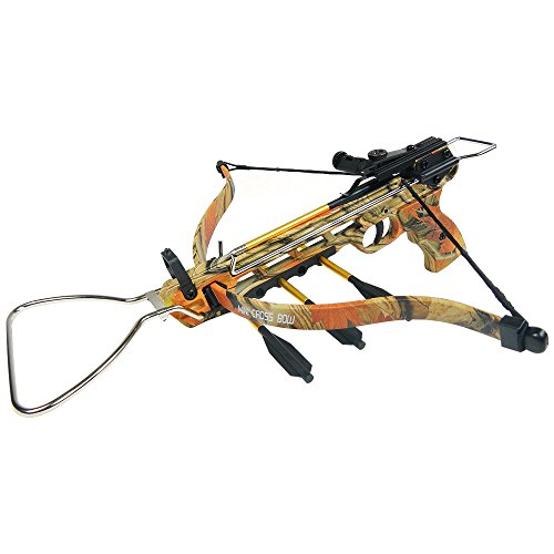 iGlow 80 lb Autumn Camouflage Aluminum Hunting Pistol Crossbow Bow with Build-in Arrow Holder +15 Bolts/Arrow 50