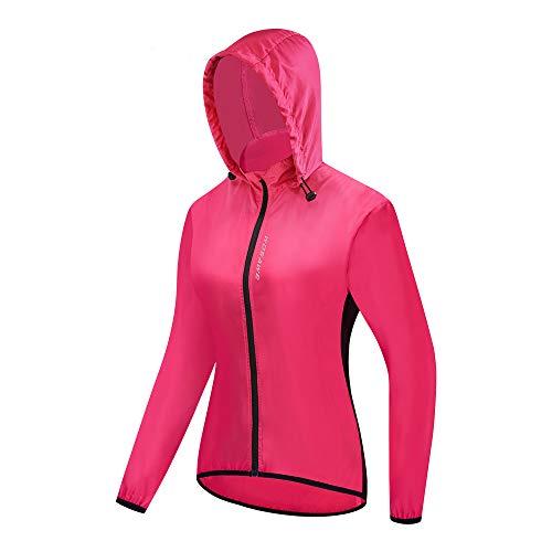 WOSAWE Damen Windjacke mit Kapuze, Leicht Atmungsaktiv Fahrradjacke für Radfahren, Laufen, Wandern, Bergsteigen (Rose XL)