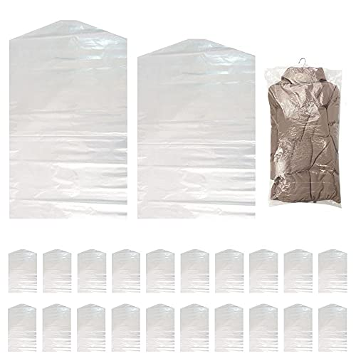 ZXM Bolsas de Ropa, 20 Bolsas de Polvo para Guardar Ropa a Largo Plazo, 60 x 100 cm, 60 x 120 cm Bolsas de Plástico de Protección para Ropa, Funda Transparente Wardobe para Ropa