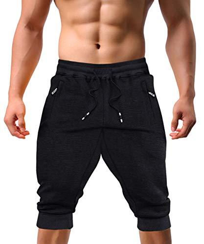 KEFITEVD Herren 3/4 Jogginghose Baumwolle Sommer Sport Shorts Kurz Casual Sweat Pants Fitness Training Hose Männer Eng Stretch Streetwear Schwarz 32