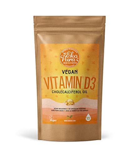 Vegan Vitamine D3 Cholecalciferol de Lichen - 3000iu / Capsule, 120 Petites Capsules, 4 Mois Stock