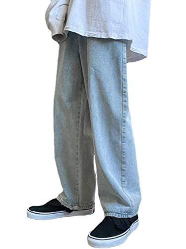Minetom Straight Fit Jeans Homme Patchwork Stretch Pantalon Large Élastique Baggy Denim Pants Streetwear Z2 Bleu Clair S