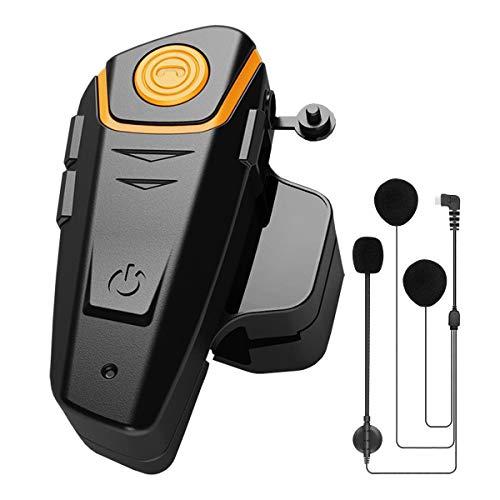 BT-S2 Intercomunicador de Moto para Motocicletas, Auriculares Casco Moto Bluetooth 1000M con Radio FM, 1 Pieza