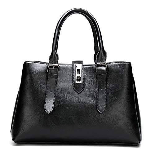 Serious Lamp Bolso de Crossbody Casual para Damas Bolso de Mano Cuero para Mujer Vintage Bolso Bolsas de Hombro, Negro