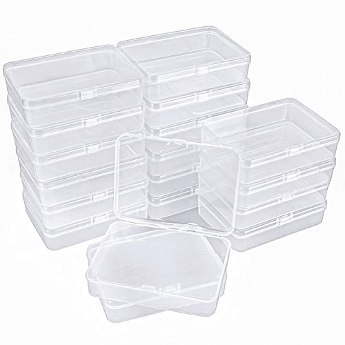 Kingrol 18 Pack Mini Clear Plastic Storage Containers with Lids, 4-1/2 x 3-3/8 x 1-1/8 Inch Empty Hinged Boxes for Beads, Jewelry, Tools, Craft Supplies, Flossers, Fishing
