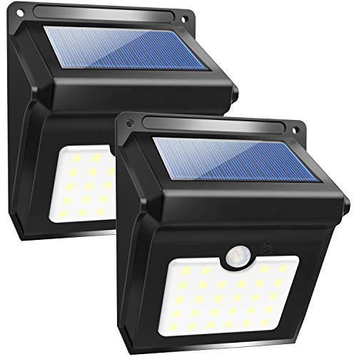Solar Motion Sensor Light Outdoor, Super Bright 28 Led Security Light Waterproof Motion Activated Wall Lights 2 Pack