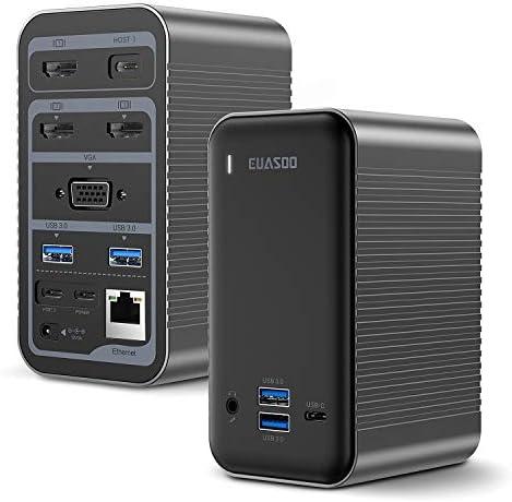 EUASOO Docking Station USB C 4K Quadruple Display Universal Laptop Docking Station for MacBook product image