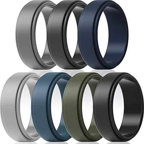 ThunderFit Silicone Wedding Ring for Men 7 Pack / 4 Pack / 1 Ring - Step Edge Sleek Design Wedding Bands (Light Grey, Dark Grey, Navy Blue, Grey, Dark Blue, Olive Green, Black, 10.5-11 (20.6mm))