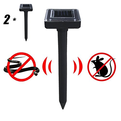 2 Pcs Solar Mole Repeller, Ultrasonic Electronic Drive Away Mole Rat Deterrent Mouse Snake Insect Repel Equipment pour Jardin de Jardin extérieur, Zone Efficace d'environ 300 mètres carrés