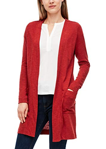 s.Oliver Damen Open Front-Jacke aus Slub Yarn Dark red 40