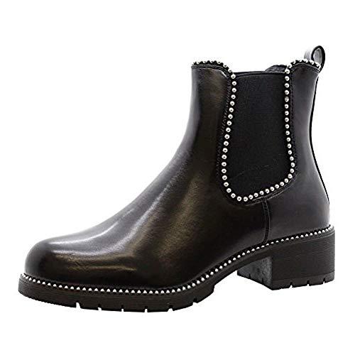 Mujer Bloque Grueso Tacones con Tachuelas Botines Chelsea Oficina Zapatos Talla 3-8 - Negro Piel Sintética Escudete, 40.5 EU (Ropa)