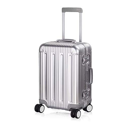 Multi-size All Aluminum Hard Shell Luggage Case Carry On Spinner Suitcase By TravelKing 20'-28' (Silver, 20')