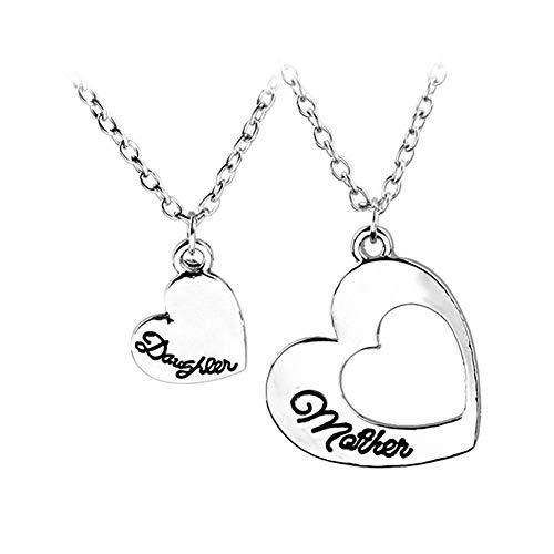 Ellepigy - Collar con colgante de corazón para madre e hija (2 unidades)