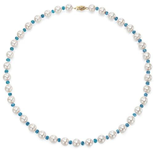 La Regis Jewelry 14K Amarillo Oro Cultivadas De Agua Dulce Blanco Perla Collar De Imitación Gemstone Joyas para Mujer 18Inch