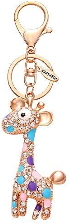 NOUMANDA Cute Animal Giraffe Crystal Keychain Bag Charm Keyring (pink gold)