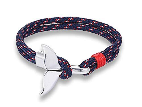 Miniblings Pulsera de cordón con diseño de aleta de ballena, bisutería original, escalada en roca, navegación, red de pesca, trenzada, azul y rojo