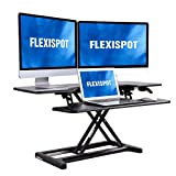 FLEXISPOT Height Adjustable Standing Desk Converter - 42 inch Stand Up Desk Riser, Black Home Office Desk for Dual Monitors and Laptop M7L