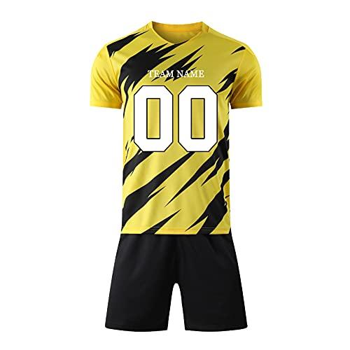 Vorhott Camiseta de fútbol personalizada. Personaliza tu propia camiseta con el nombre y el número del equipo de M?nner, para mujeres, regalos juveniles, aficionados. negro y amarillo S