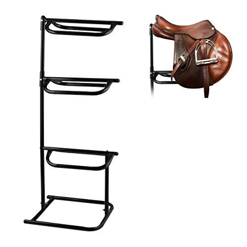 Relaxdays Sattelhalter Pferd, für 3 Sättel, Sattelständer als Stall- und Pferdezubehör, Metall, HBT 154x64x53cm, schwarz
