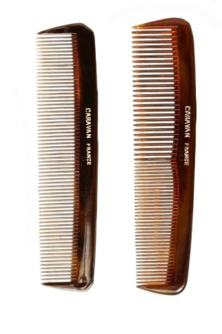 従順この到着するCaravan Tortoise Set Of 2 Shell Comb, Pocket Teeth [並行輸入品]