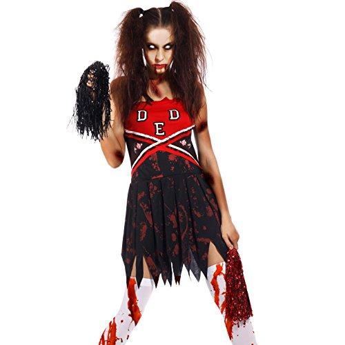 M L Deguisement Pom-Pom Girl Femmes Costume Zombie Halloween Sanglant fantatie Horreur Gothique Corps Morte