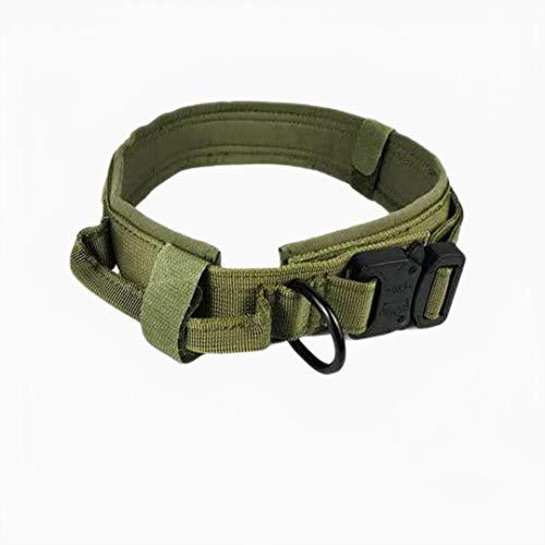 Collar de Perro de Nailon Collares de Perro tácticos para Perros Grandes con Mango de Control Collar de Perro Militar de Entrenamiento Productos para Mascotas-Verde, M
