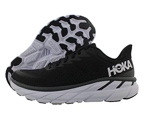 HOKA ONE ONE Men's Clifton 7 Running Shoe (Black/White, 10)