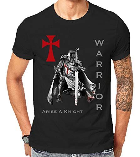 Scralandore Design Camiseta Caballero Templario Cristiano Guerrero Religioso Jesús Dios Amor Biblia