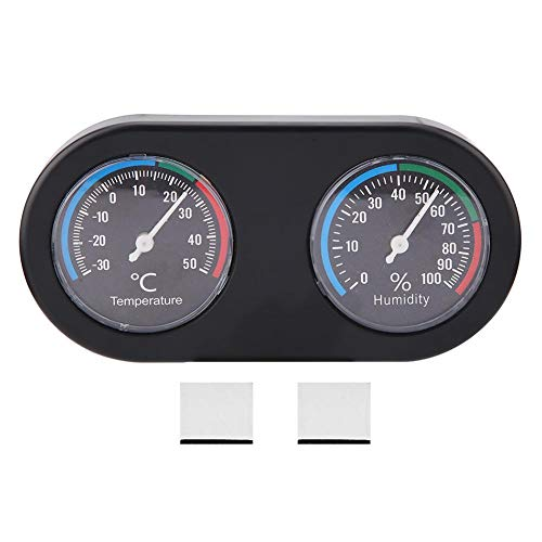 Hffheer Rettile Termometro umidità Rettile Serbatoio Termometro Display a Forma Rotonda Termometro per Acquario Rettile Terrario Termometro Igrometro con sonde a Ventosa