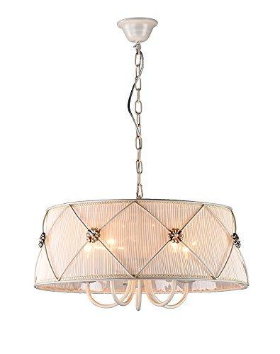 Romantischer Retro Kronleuchter, Metall-Gestell in Farbe Creme, Lampenschirm aus Organza, Kristall-Dekorl, 5-flammig exkl. E27 40W 220V