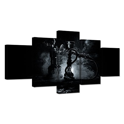 iHAPPYWALL Large 5 Pieces Black And White Canvas Wall Art Hookah Shisha Bowl Picture Print Stretched And Framed For Bar Bedroom Decor Ready To Hang