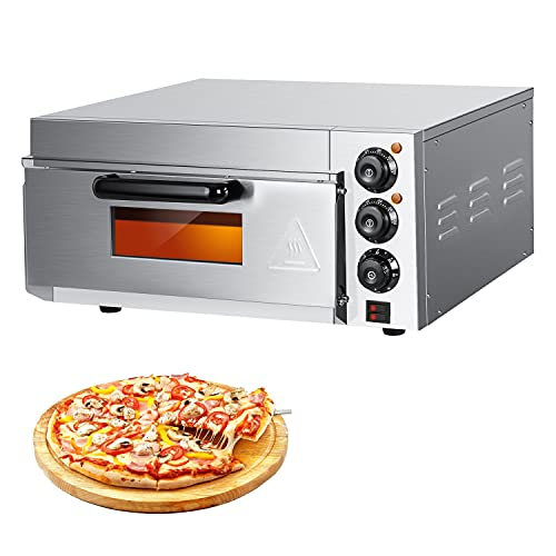 Electric Pizza Oven Countertop 14'' Stainless Steel Commercial Pizza Oven Single Layer Deck Deluxe Pizza Maker Multipurpose Snack Oven for Restaurant...