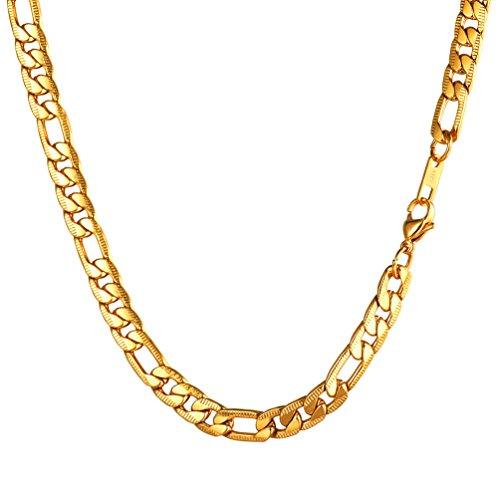 PROSTEEL Uomo Collana Catena Figaro Lunga 50 cm Larghezza 7 MM Oro Acciaio Inossidabile Placcato Oro 18K (Confezione Regalo Offerta)