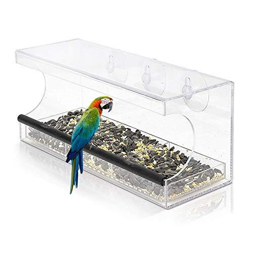 WSXD Alimentador de pájaros, semilla de acrílico Sucker pájaro alimentador automático montado en la pared transparente mascotas dispositivo de alimentación extraíble bandeja al aire libre Tres cuadríc