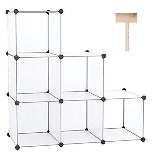 C&AHOME Cube Storage Organizer 6-Cube Shelves Units Closet Cabinet DIY Plastic Modular Book Shelf Ideal for Bedroom Living Room Office 366 L x 124 W x 366 H Translucent White