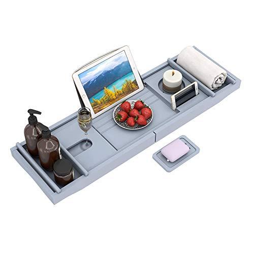 Bandeja De Bañera De Bambú, Bandeja De Baño Universal con Soporte para iPad/Reposa Libros, Organizador De Baño Inferior Antideslizante Lados Extensibles, Jabonera Gratis