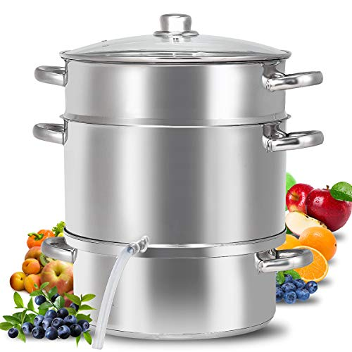 Fruit Juicer Steamer, 11-Quart Stainless Steel Fruit Vegetables Steamer For Food With Glass Lid Hose With Clamp Loop Handles, Perfect Home Kitchen Stainless Steel Cookware By WATERJOY