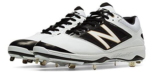 New Balance Men's L4040v3 Low Metal Baseball Cleats White/Black 16