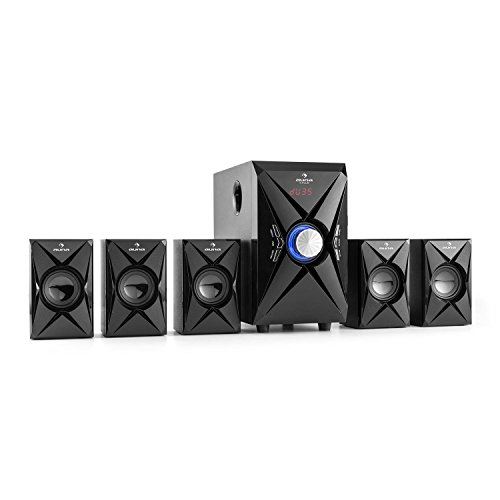 auna X-Plus - Sistema Sonido Envolvente 5.1, Home Cinema, Surround, 70 W RMS, Modo Pro Logic, Bluetooth, Pantalla LED, AUX, USB, Tarjeta SD, Sintonizador FM, MP3, Mando Distancia, Negro